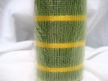 """Green yellow stripe 10"""" x 5 yds  deco mesh decorative poly christmas roll craft in Kingwood, Texas"""