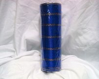 "Royal Blue navy 10"" x 5 yd deco mesh decorative poly gold roll stripe craft in Houston, Texas"