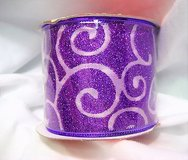 """NWT glitter purple 96-690502 ribbon happy christmas 1407 wired sparkle 2.5"""" x 3 yds in Houston, Texas"""