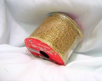 "glitter gold 1407 ribbon 96-650503 happy christmas wired sparkle 2.5"" x 3 yds in Houston, Texas"