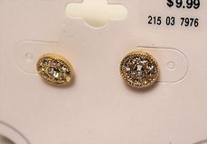 nwt gold tone circle round clear gem stone sparkle stud post in Kingwood, Texas