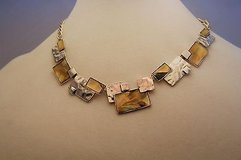"""Passion hammered flat 17"""" silver gold brass tone necklace statement chain in Houston, Texas"""