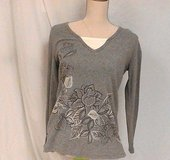 NWT White stag gray bling ls women blouse shirt knit top sz s blouse long sleeve in Houston, Texas
