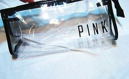 NWOT Victoria's Secret Cosmetic Case Bag pink clear black plastic make up cosmetic toiletries case in Houston, Texas