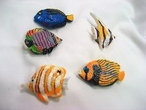 Vintage Button Covers retro tropical fish resin blow jelly clown 5 button covers snap closure Oc... in Houston, Texas