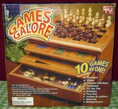 GAME SET - 10 IN 1 /WOODEN CABINET - NIB in Naperville, Illinois
