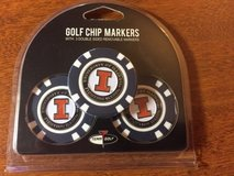 illinois fighting illini golf chip markers with 3 double sided removable markers in Morris, Illinois