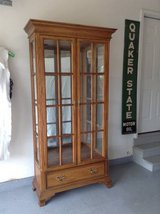 Oak display cabinet good condition in Naperville, Illinois