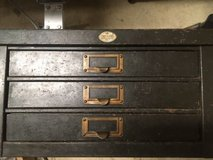 antique vtg art metal 3 drawer storage cabinet industrial steampunk organizer in Chicago, Illinois