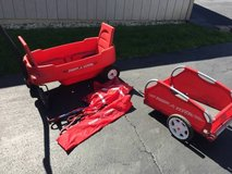 Radio Flyer wagon, canopy, and trailer in Naperville, Illinois