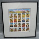 ART - Matted & Framed Legends-of-the-West Stamp Sheet from 1993 in Joliet, Illinois