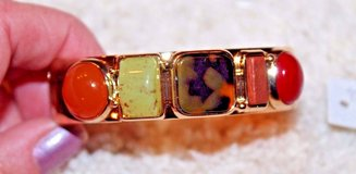 NWT Chico's Gold Hinge Bangle Bracelet, 5 Simulated Stones, SRP $45 in Naperville, Illinois