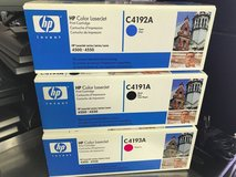 hp laserjet 4500-4550 lot of 3 ink toner cartridges c4191a, c4192a, c4193a in Bolingbrook, Illinois