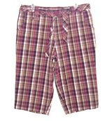 White Stag PURPLE Plaid Belted Capri Pants Womens 14 in Morris, Illinois