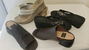 Sandals and dark brown leather slip ons in Camp Pendleton, California