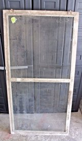 Antique 1930s Central Illinois Farmhouse Shabby Decor Window Screen Chippy White in Plainfield, Illinois