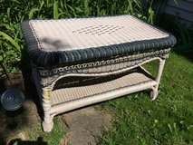 BENCH WICKER WHITE Garden Outdoor Love Seat Woven Blue Accent Porch in Naperville, Illinois