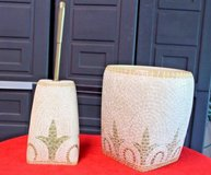 """Croscill Home """"Torino"""" Bathroom set - Hand Painted Tile Look Waste Can/brush Holder in Naperville, Illinois"""