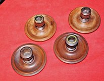 Assortment of  4 Vintage Wooden Taper Candle Holders in Naperville, Illinois