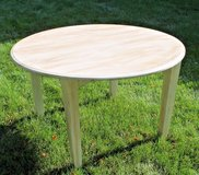 Shabby Chic Solid Wood Kitchen Table 48-in Round, 3 Leafs, Extends to 84-in in Oswego, Illinois