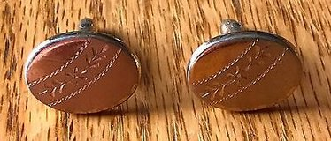Vintage Speidel Etched Gold Oval Cuff Links with T Bar Clasp-great for monograms in Chicago, Illinois