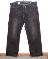 Parish Button Fly Black Wash Belted Jeans Mens Tag 40 Measures 38 x 33 in Joliet, Illinois