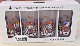 """Set of 4 Libbey """"Card Party"""" Glassware, 15 oz Pub - New in Box - 3 Boxes Available in Joliet, Illinois"""