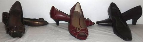 Sz 7 Medium Copper Burgundy Brown Heels -OR- Open Toe Flats Shoes in Orland Park, Illinois