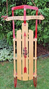 Flexible Flyer Wood Sled, Metal Runners - Porch Decor in Joliet, Illinois