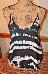 Lily White Swing Cami Top, Black/White/Green, Adjustable Strap, V-Front /Back, XS in Oswego, Illinois