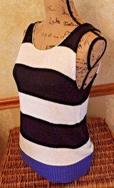 Blue & Cream Striped Scoop Neck Sweater Knit Tank, Sanctuary, Large in Naperville, Illinois
