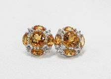 Citrine and White Round CZ Cluster Sterling Silver earrings in Camp Lejeune, North Carolina