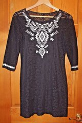 EXPRESS Black Lace Dress Blk Underslip, White Stitched Geometric Design Front, Small in Naperville, Illinois