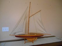 1895 Cup Racer Wooden and cloth Sail Boat w/ Stand 3 Feet Tall in Naperville, Illinois