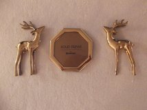 "( 2 ) Two Vintage 7 ""; Solid Brass Deer figurines & a 5 1/4 "",  Hand Polished  and Lacquered Bow... in Fort Benning, Georgia"