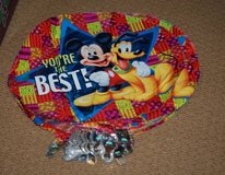 25 MYLAR MICKEY MOUSE PLUTO BALLOONS & 25 SMILEY FACE WEIGHTS & RIBBON in Schaumburg, Illinois
