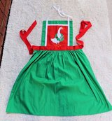 Green Christmas Apron, Red Accents, Embroidered Goose, Red Ribbon Tie in Joliet, Illinois