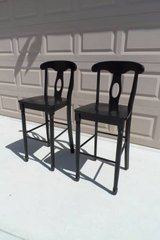 Black Solid Wood Counter Stools, Set of 2 in Travis AFB, California