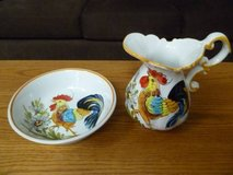 Handpainted Ceramic Rooster Pitcher and Bowl Set From Italy in Elgin, Illinois