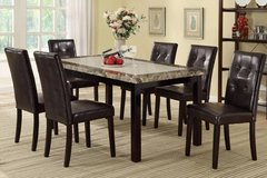 Two-Toned Marble Finish Dining Table + 6 Chairs Set FREE DELIVERY in Camp Pendleton, California