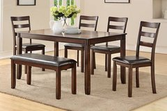 Dark Walnut Finish Dining Set Table and 4 Chairs Bench FREE DELIVERY in Camp Pendleton, California