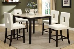 Cream Marble Finish Counter Table + 4 White Chairs Set FREE DELIVERY in Camp Pendleton, California