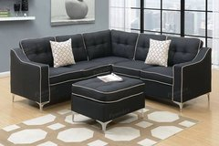 New Black Linen Sectional and Ottoman FREE DELIVERY in Camp Pendleton, California