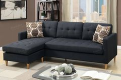 New Black Linen Mini Linen Sofa Sectional with Pillows FREE DELIVERY in Camp Pendleton, California