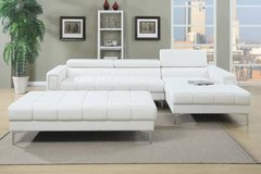 New White Bonded Leather Sectional Sofa Optional Ottoman FREE DELIVERY in Camp Pendleton, California