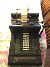 Antique Burroughs adding machine circa 1920s in Aurora, Illinois