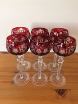 Hungarian Crystal Wine Goblets - Set of 6 - Ruby Red in Elgin, Illinois