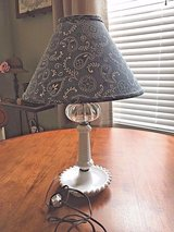 Hobnail Milk Glass Bedside Lamp with Blue & White Paisley Shade**Ex Condition in Algonquin, Illinois