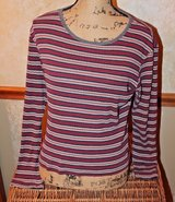 Striped Long Sleeve Knit Top in Burgandy/Gray/White/Black - Stretchy, Small in Plainfield, Illinois