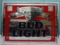 VINTAGE 1990 ANHEUSER BUSCH BUD LIGHT BEER FRAMED BAR MIRROR in Fairfield, California
